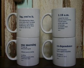 set of 4 indigo eli poem mugs