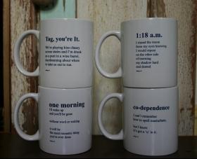 set of 4 indigo eli poem mugs