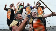 junk warriors, street percussion ensemble, adelaide fringe parade, 2011, photo: michael marschall, source: the advertiser