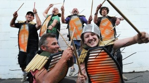 junk warriors, street percussion ensemble, adelaide fringe parade, 2011, photo: michael marschall, source: the advertiser
