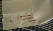 stitched words on handkerchief, indigo eli, 2011