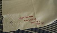 stitched words on handkerchief, indigo eli, 2011
