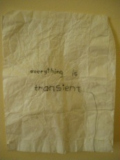 everything is transient, stitched words on paper bag, indigo eli, 2011